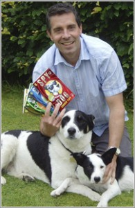 Author Andrew Cope and his dogs